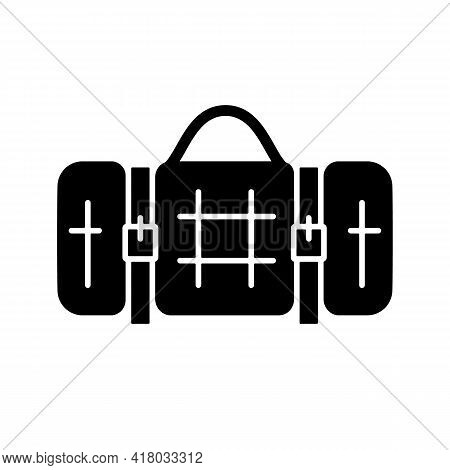 Picnic Blanket Black Glyph Icon. Houseware Item. Cloth Napkin. Backpacking Trip. Laying On Ground Fo