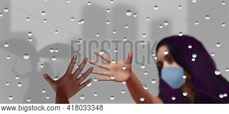 Friends Separated By Covid As One Of Them Quarantines,  Reach Hands For Each Other With A Rain Dotte
