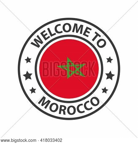 Welcome To Morocco. Collection Of Welcome Icons. Stamp Welcome To With Waving Country Flag