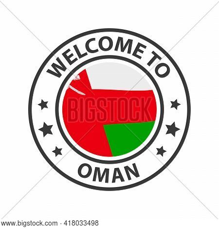 Welcome To Oman. Collection Of Welcome Icons. Stamp Welcome To With Waving Country Flag