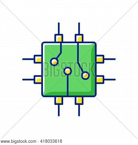 Circuit Board Design Rgb Color Icon. Create Plan How To Place All Microprocessors On Circuit Board C