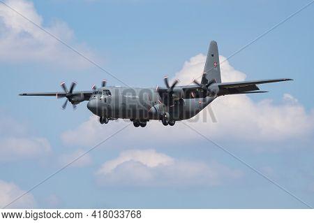 Fairford, United Kingdom - July 12, 2018: Royal Danish Air Force Lockheed C-130j-30 B-536 Transport