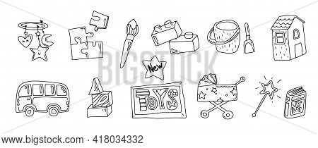 Toys Doodle Icons. Baby And Kids Toy. Icons For Baby Shop. Type Of Toys. Outline. . Vector Illustrat