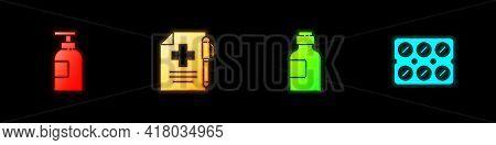 Set Hand Sanitizer Bottle, Medical Prescription Pen, Bottle Of Medicine Syrup And Pills Blister Pack