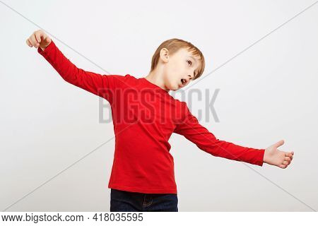 Children Theater Club. Boy Dreams To Be An Actor. Boy Practicing Acting Skills. Funny Child At Theat