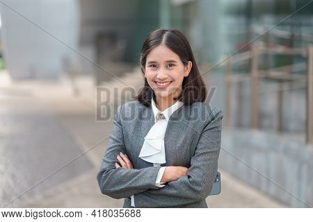 Portrait Young Attractive Asian Business Woman Wear Formal Gray Suit Standing Confident With Arms Cr