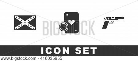 Set Flag Confederate, Casino Chip And Playing Cards And Pistol Or Gun Icon. Vector