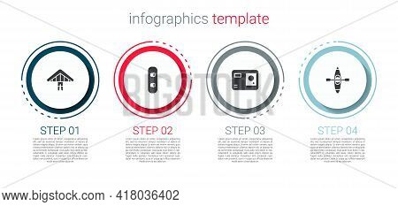 Set Hang Glider, Snowboard, Action Extreme Camera And Kayak Or Canoe. Business Infographic Template.