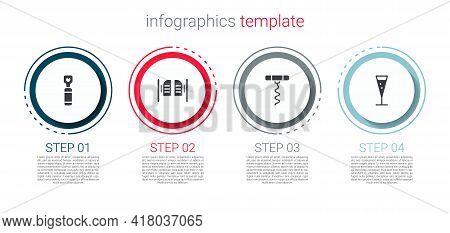 Set Bottle Opener, Saloon Door, Wine Corkscrew And Glass Of Champagne. Business Infographic Template