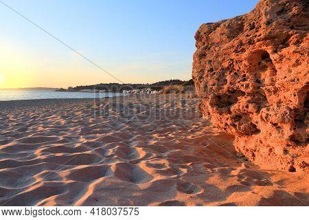 Salento Beach Sunset In Italy. Lido Rivabella In Apulia Region. Salento, Italy.