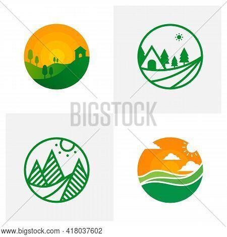 Set Of Nature Landscape Logo Design Vector Illustration, Creative Nature Landscape Logo Design Conce
