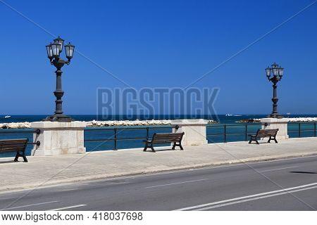 Lungomare Boulevard In Bari Town, Italy. Mediterranean Coast Promenade.