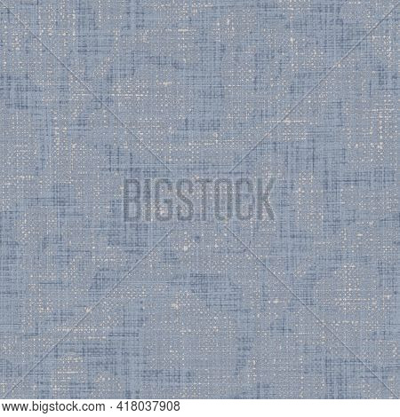 Seamless French Farmhouse Woven Linen Mottled Texture. Ecru Flax Blue Hemp Fiber. Natural Pattern Ba