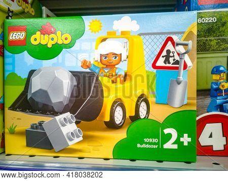 Lego Bricks Duplo Bulldozer For Sale In The Hypermarket On 11.04. 2021 In Russia, Kazan, St. Pavlyuk