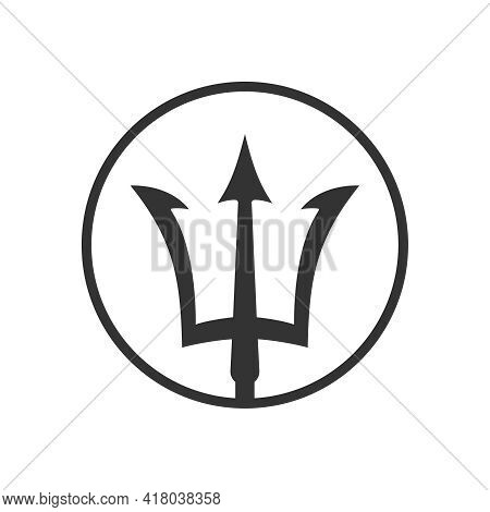 Trident Graphic Icon. Trident Poseidon Sign In The Circle Isolated On White Background. Vector Illus
