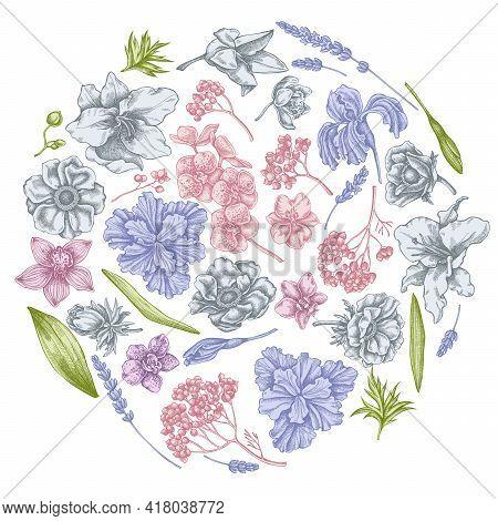 Round Floral Design With Pastel Anemone, Lavender, Rosemary Everlasting, Phalaenopsis, Lily, Iris St