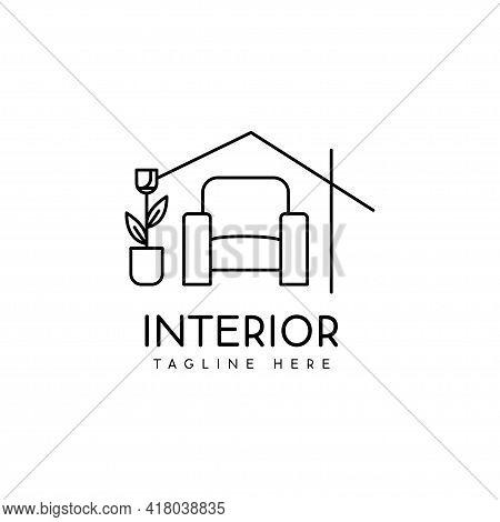 Interior Logo Design Monoline Style Room Decoration Vector Illustration