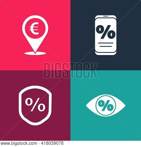 Set Pop Art Eye With Percent, Loan, Percent Discount And Mobile And Cash Location Icon. Vector