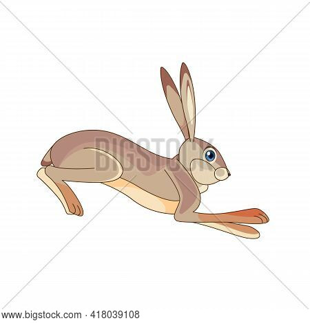 Hare Running And Jumping. Cartoon Character Of A Small Mammal Animal. A Wild Forest Creature With Gr