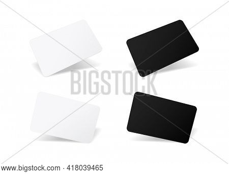 Blank plastic card mockup 3d illustration icon isolated on white background. Template for business card.