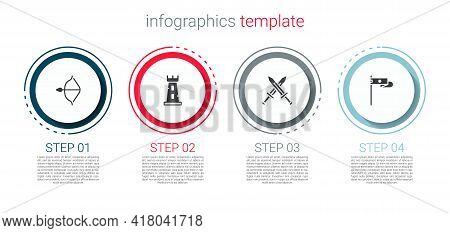 Set Medieval Bow And Arrow, Castle Tower, Crossed Medieval Sword And Flag. Business Infographic Temp