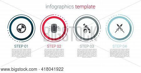 Set Round Wooden Shield, Diamond, Sword With Blood And Crossed Medieval Sword. Business Infographic