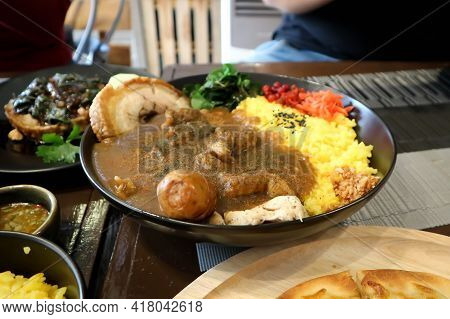 Japanese Curry Rice, Japanese Curry With Pork And Rice Or Kare Rice