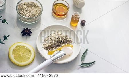 Home Cosmetic Mask For Face Skin From Natural Ingredients Of Fresh Berries, Oatmeal, Honey, Essentia