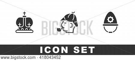 Set British Crown, Sherlock Holmes And Police Helmet Icon. Vector