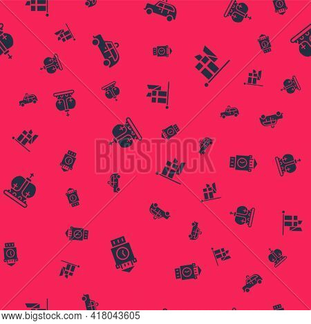 Set Big Ben Tower, Taxi Car, British Crown And England Flag On Flagpole On Seamless Pattern. Vector
