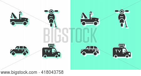 Set Tv News Car, Tow Truck, Hatchback And Scooter Icon. Vector