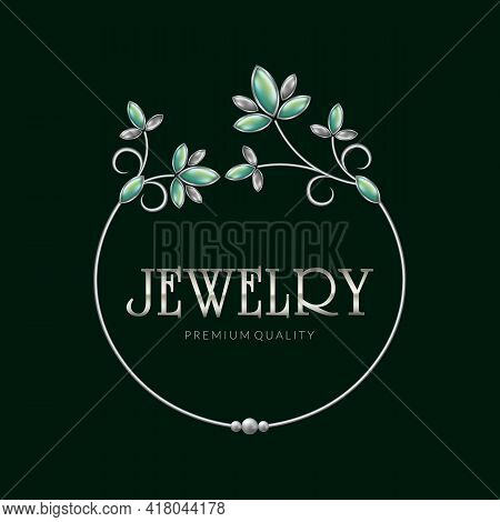 Jewelry Frame Logo, Silver Jewelry Ornament, Vector Illustration