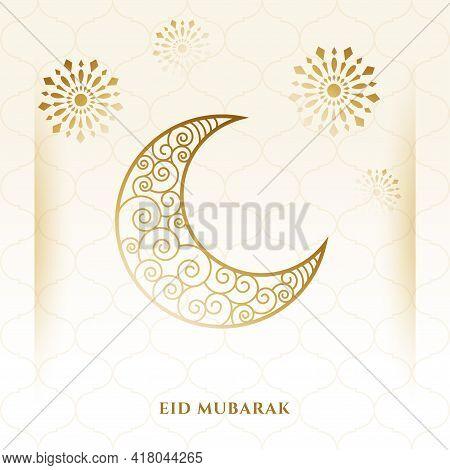 Decorative Crescent Moon Eid Mubarak Card Design