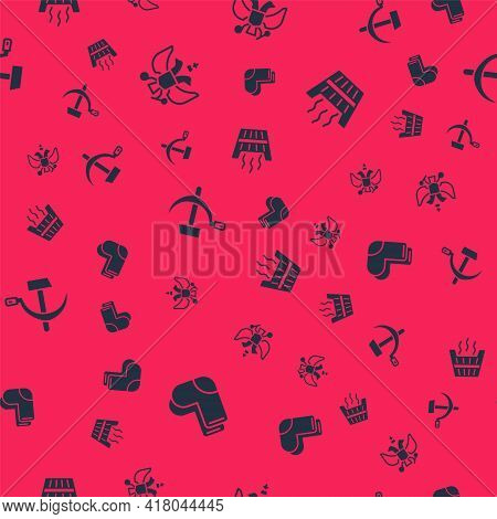 Set Valenki, National Emblem Of Russia, Hammer And Sickle Ussr And Sauna Bucket On Seamless Pattern.