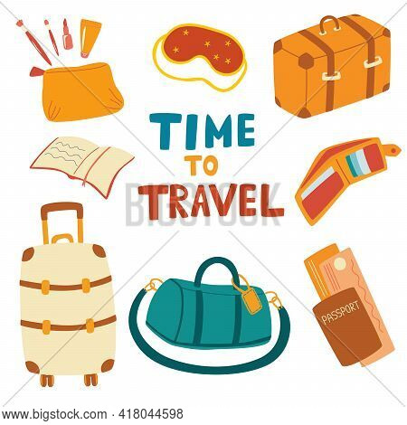 Set Of Travel Items. Airplane Trip Essentials: Suitcase, Travel Bag, Sleep Mask, Passport, Book, Wal
