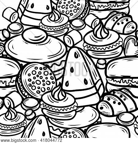 Seamless Pattern With Cake, Cupcake, Candy And Other Dessert With Berry