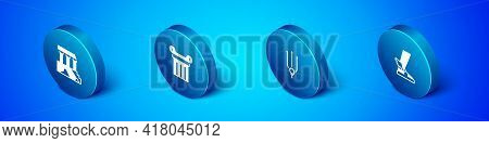 Set Isometric Parthenon, Neptune Trident, Hermes Sandal And Ancient Column Icon. Vector