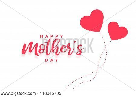 Happy Mothers Day Card With Two Hearts
