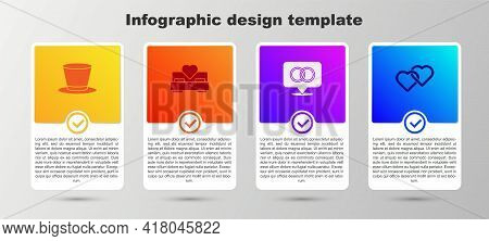 Set Cylinder Hat, Bedroom, Wedding Rings And Two Linked Hearts. Business Infographic Template. Vecto