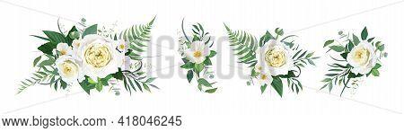 Vector Floral Bouquet Watercolor Illustration. Yellow Garden Rose, White Camellia Flower, Green Trop