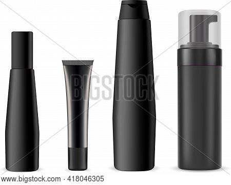 Black Cosmetic Bottle, Shampoo, Pump Dispenser Plastic Container. Cosmetic Cream Tube Mockup, Hair C
