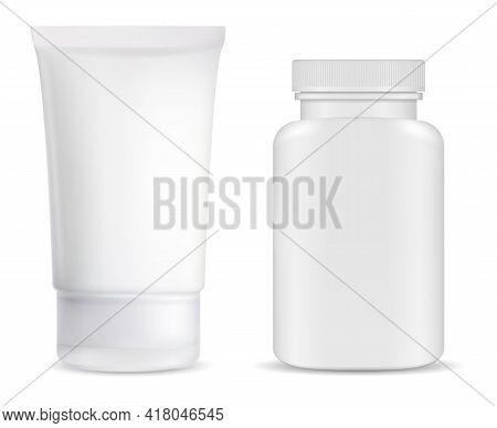Cream Tube, Supplement Pill Bottle Mockup, White Glossy Jar Illustration Blank. Ointment Tube Pharma