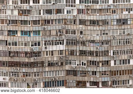 Balconies Of An Apartment Building. Panel Construction And Miscellaneous Glazing. Multi-storey Resid