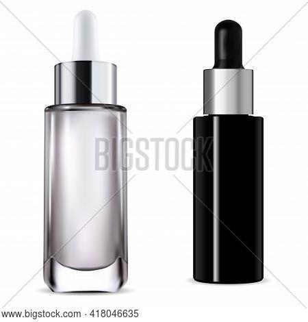 Dropper Bottle. Cosmetic Serum Pipette Bottle Mockuphyaluronic Essence Jar, Premium Collagen Liquid