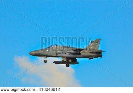 Labuan,malaysia-apr 24,2021:a Single Seat Rmaf Bae Hawk 208 Fighter Jet At Low Level During The Exer