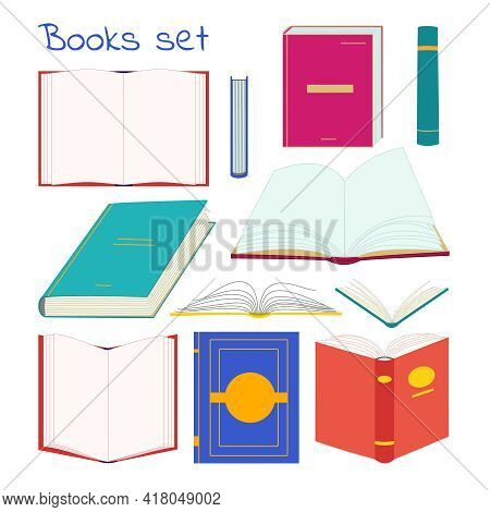 Books Collection In Different Positions And Colors. Vector Opened And Closed Books Isolated Icons Se