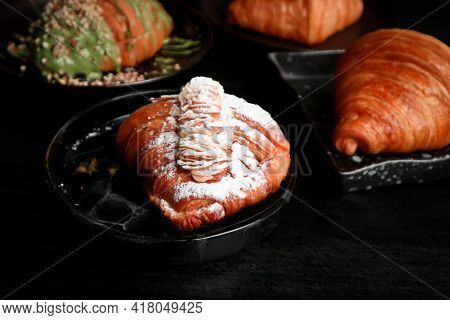 Croissant, French Croissant Or Almond Croissant With Icing Topping