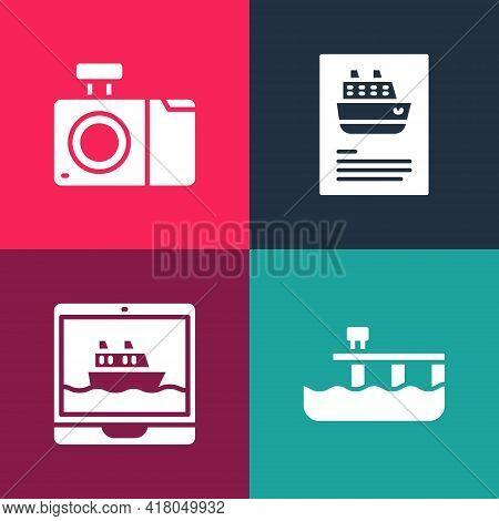 Set Pop Art Beach Pier Dock, Cruise Ship, And Photo Camera Icon. Vector