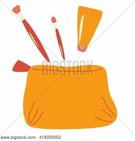 Woman's Bag Of Cosmetics. Makeup Brushes, Lipstick, Cream. Concept Of Beauty Bloggers, Fashion And G