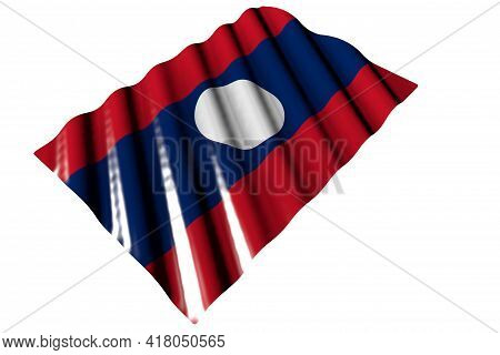 Beautiful Shiny Flag Of Lao People Democratic Republic With Large Folds Lying Isolated On White - An